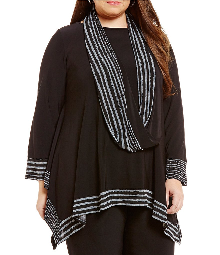 IC Collection Plus Scarf Poncho Top
