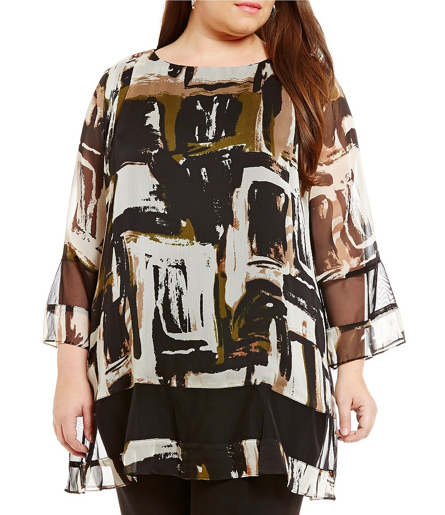 IC Collection Plus Chiffon Printed Blouse