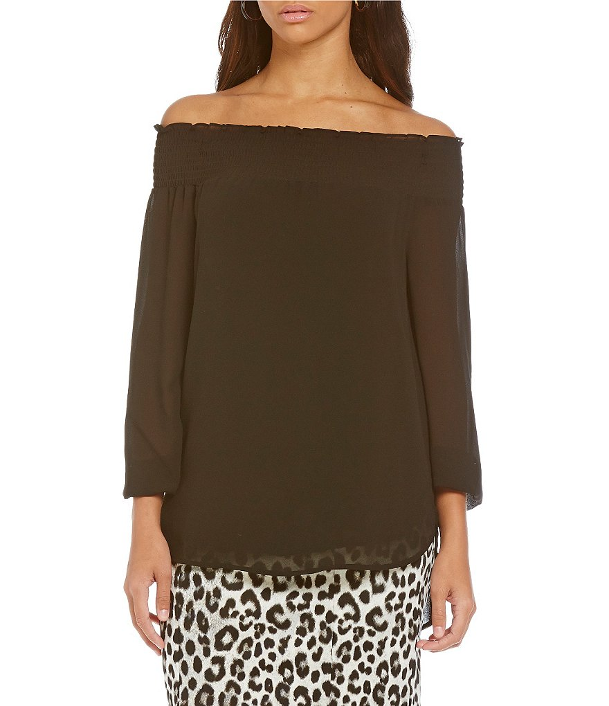 MICHAEL Michael Kors Off-The-Shoulder Georgette Solid Top