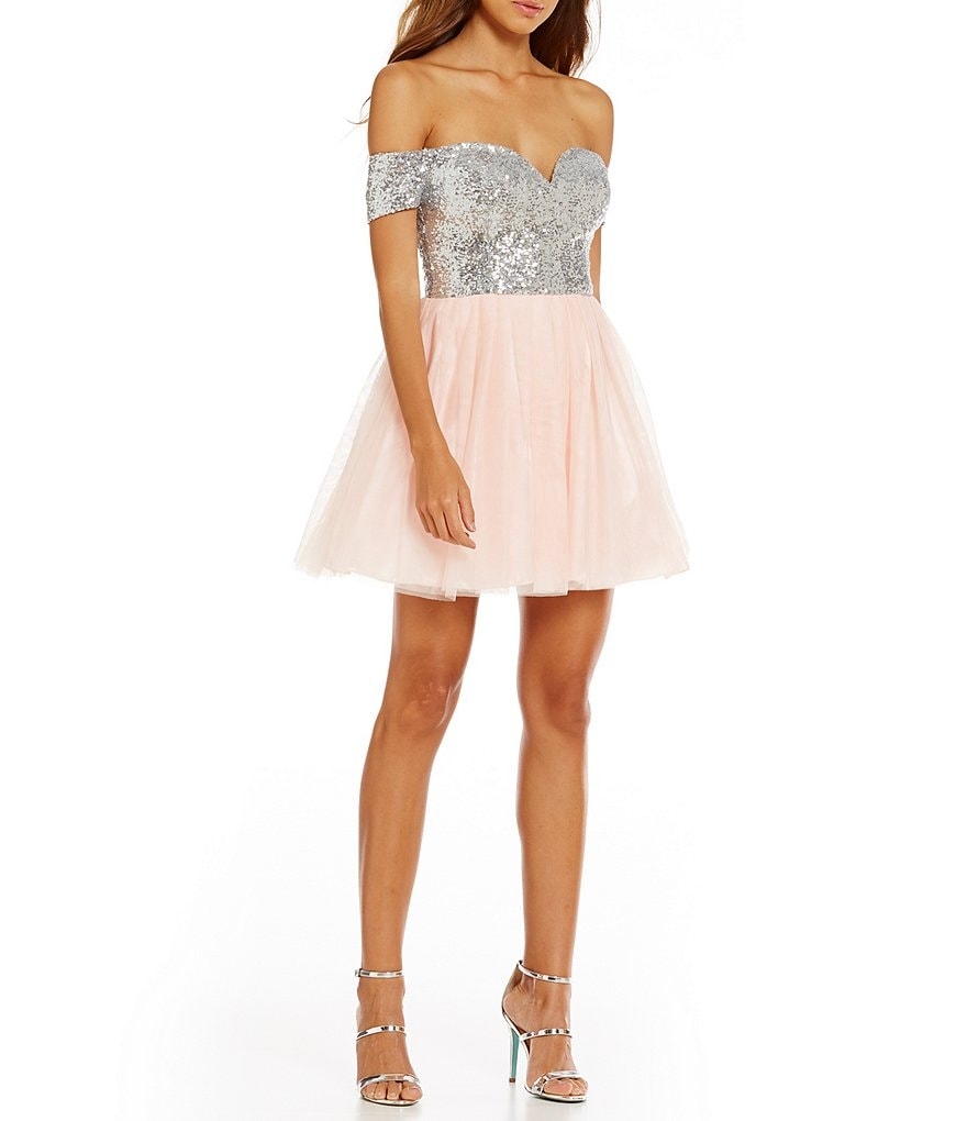 B. Darlin Off-The-Shoulder Sequin Bodice Swing Party Dress