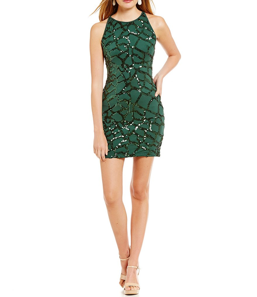 B. Darlin High-Neck Sequin Pattern Sheath Dress