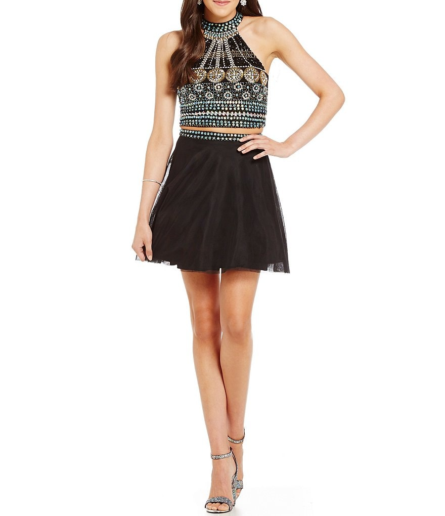 Midnight Doll Beaded Top Mesh Skirt Two-Piece Party Dress