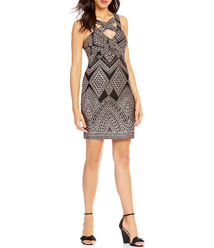 Midnight Doll X-Yoke Glitter Sheath Dress
