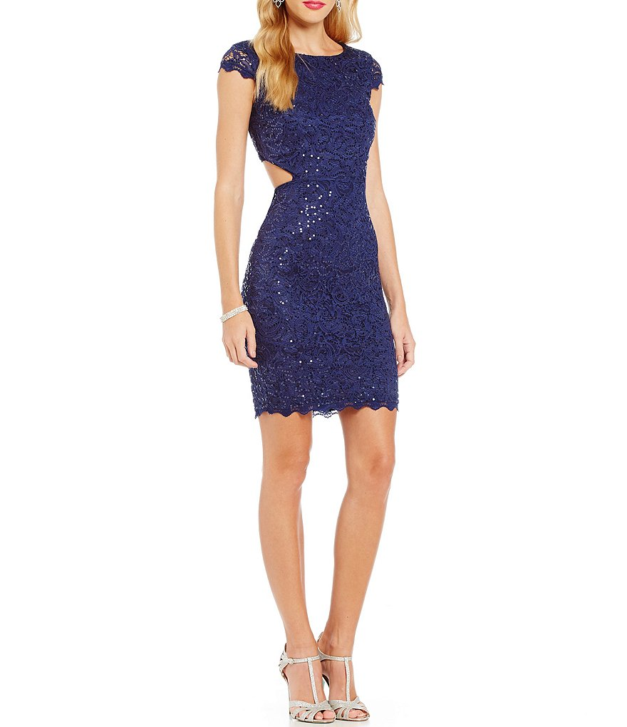 Sequin Hearts Cut-Out Sides Sequin Lace Sheath Dress