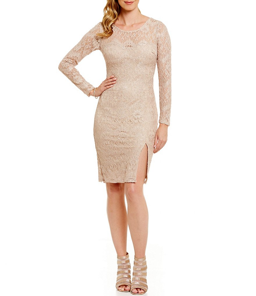 Sequin Hearts Long Sleeve Open Back Lace Sheath Dress