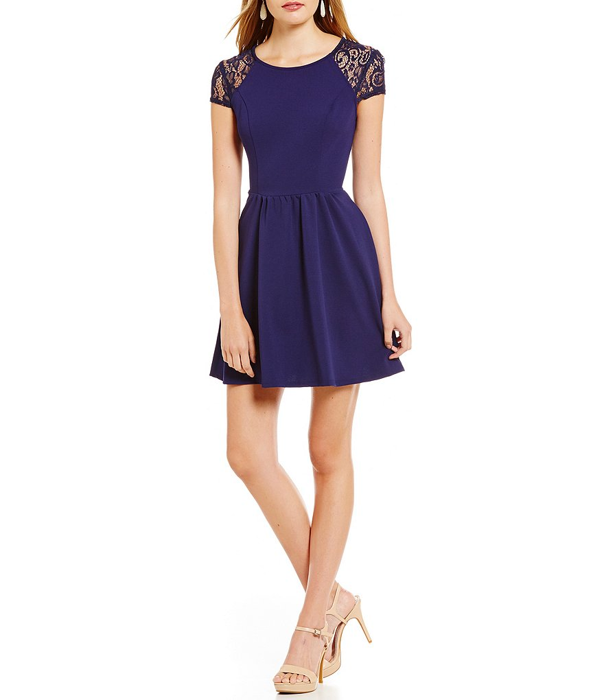 B. Darlin Lace Cap Sleeve Skater Dress