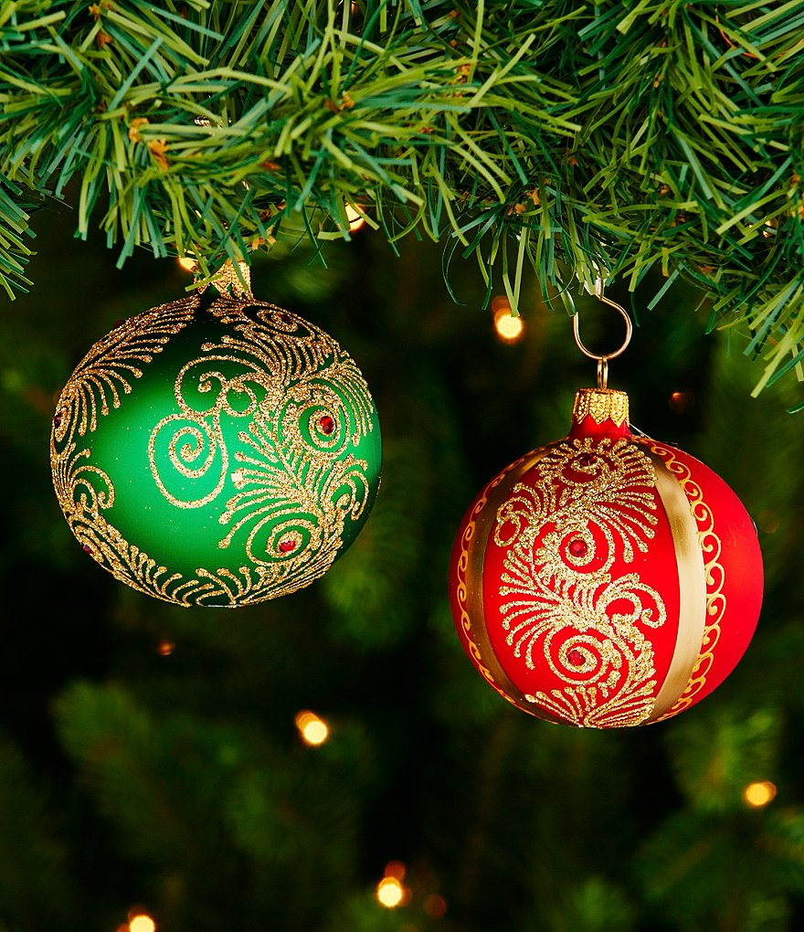 Waterford 2016 Nostalgic Collection Holiday Heirloom Peacock Nouveau Ball Ornament Pair