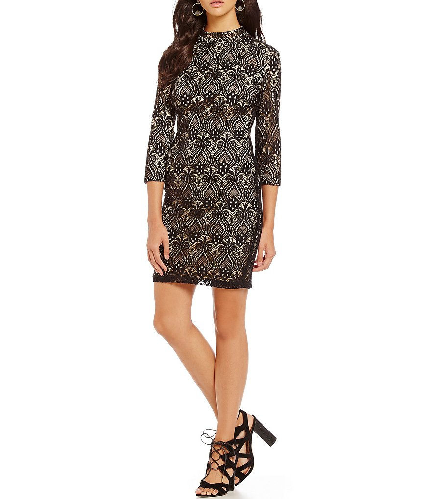 Midnight Doll Two-Tone Lace Sheath Dress