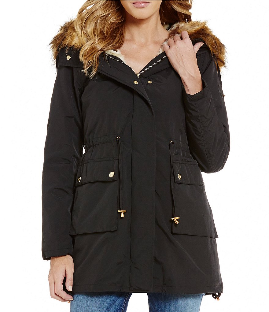 Steve Madden Hooded Front ZIp Parka With Faux-Fur Hood Trim
