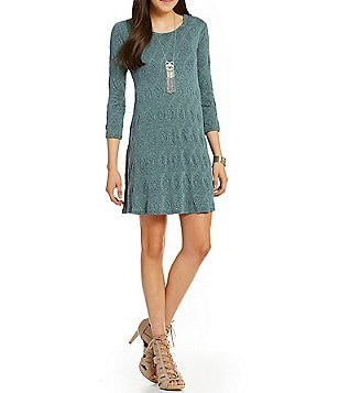 Jodi Kristopher 3/4 Sleeve Textured Knit Shift Dress