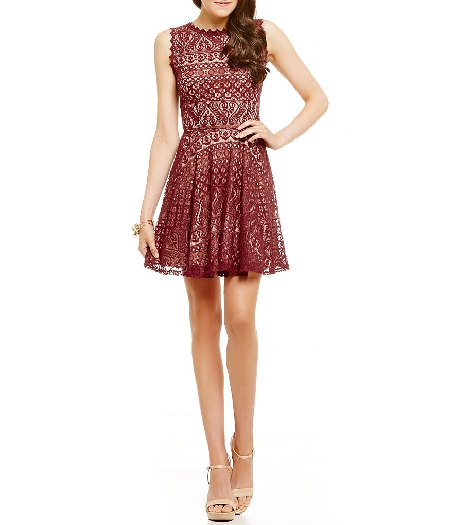 Jodi Kristopher Sleeveless Two-Tone Lace Skater Dress