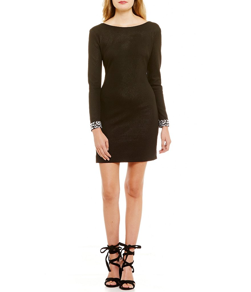 Teeze Me Long Sleeve Beaded Cuffs Sheath Dress