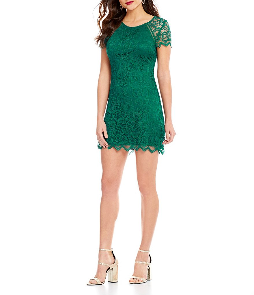 Xtraordinary Scalloped Lace Sheath Dress