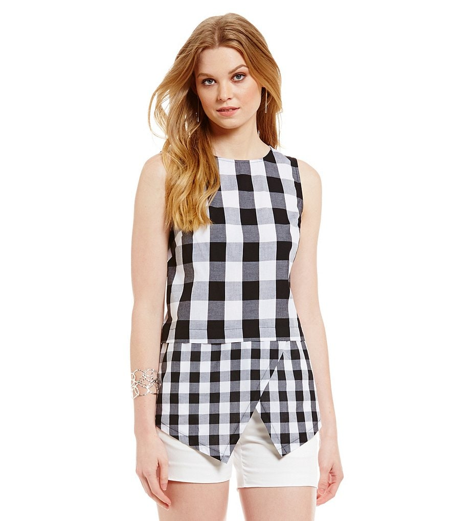 Cremieux Kari Sleeveless Hankerchief Hem Gingham Blouse