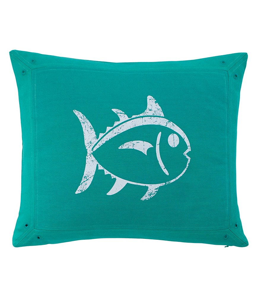 Southern Tide Prep School Skipjack Fish Cotton Feather Pillow