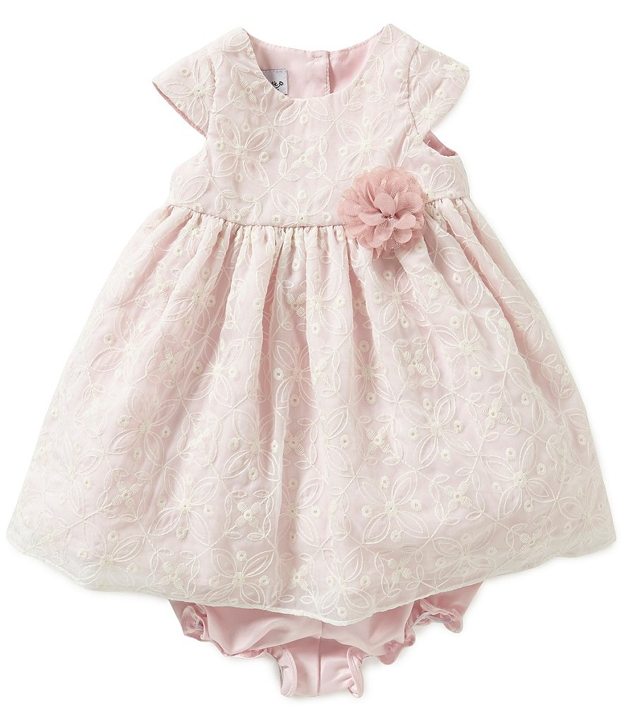 Pippa & Julie Baby Girls Newborn-24 Months Embroidered Lace-Overlay Dress