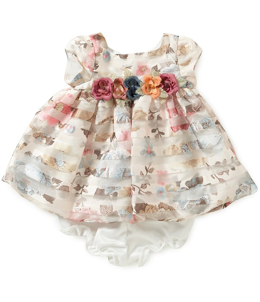 Laura Ashley London Baby Girls Newborn-24 Months Floral Shadow-Stripe Crepe Dress
