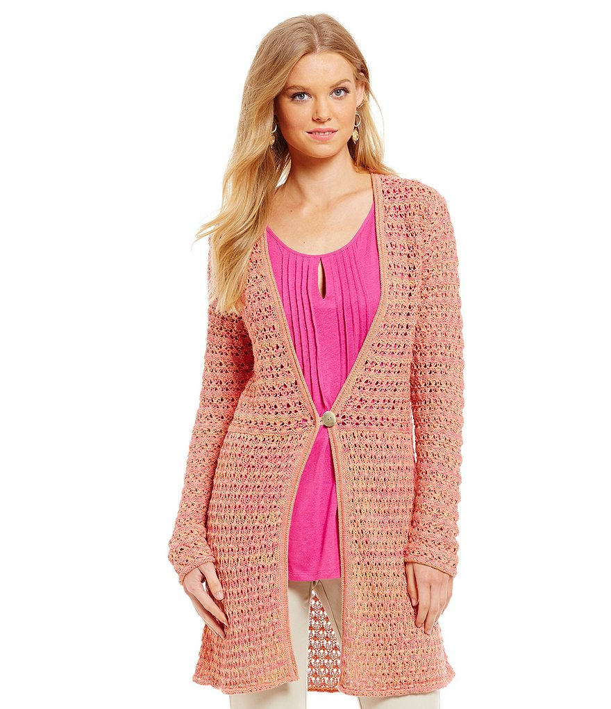 Sigrid Olsen Signature Open Stitch Duster Cardigan