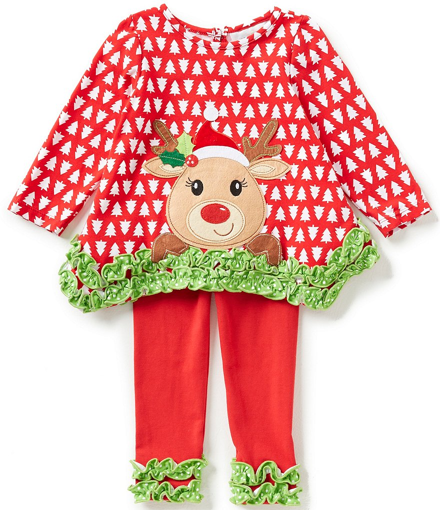 Rare Editions Baby Girls 12-24 Months Christmas Reindeer-Appliquéd Printed Top & Ruched-Hem Leggings