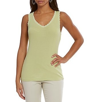 Sigrid Olsen Signature Lace Trimmed Ribbed Knit Tank