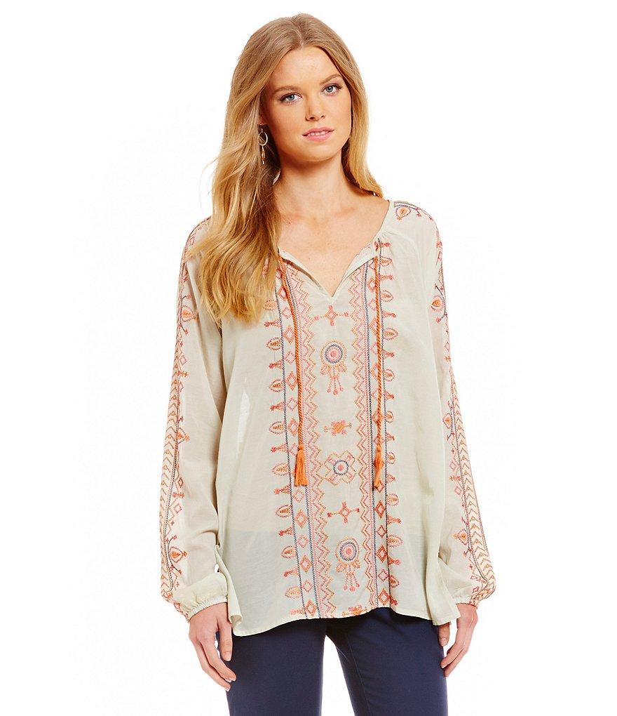 Sigrid Olsen Signature Embroidered Woven Blouse
