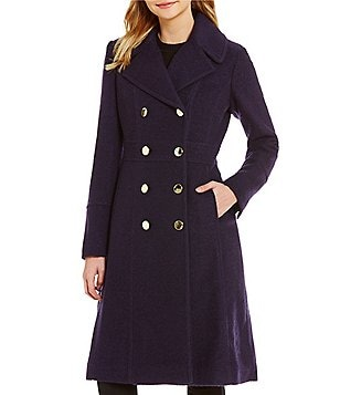 Guess Double Breasted Fit-and-Flare Military Wool Peacoat