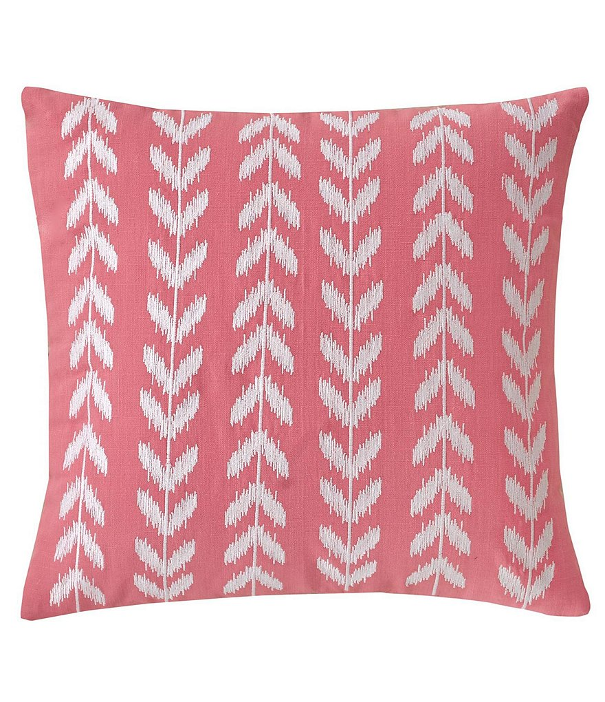 Southern Tide Coastal Ikat Heart-Embroidered Cotton Square Feather Pillow
