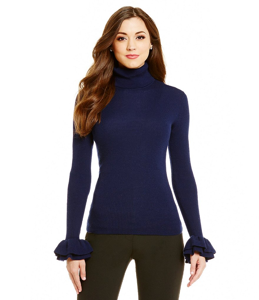 Antonio Melani Lane Ruffle Cuff Turtleneck Wool Sweater