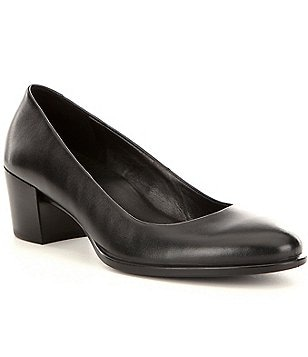 ECCO Shape 35 Leather Slip-On Block Heel Pumps