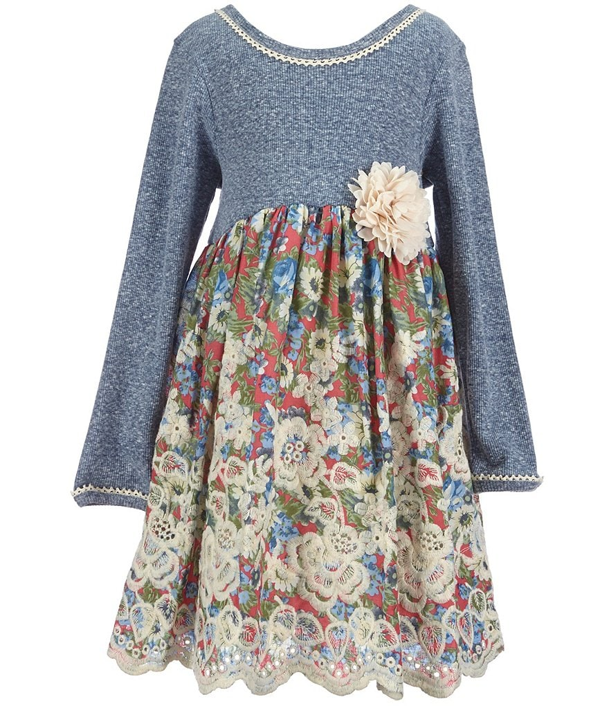Bonnie Jean Little Girls 2T-6X Embroidered Floral Dress