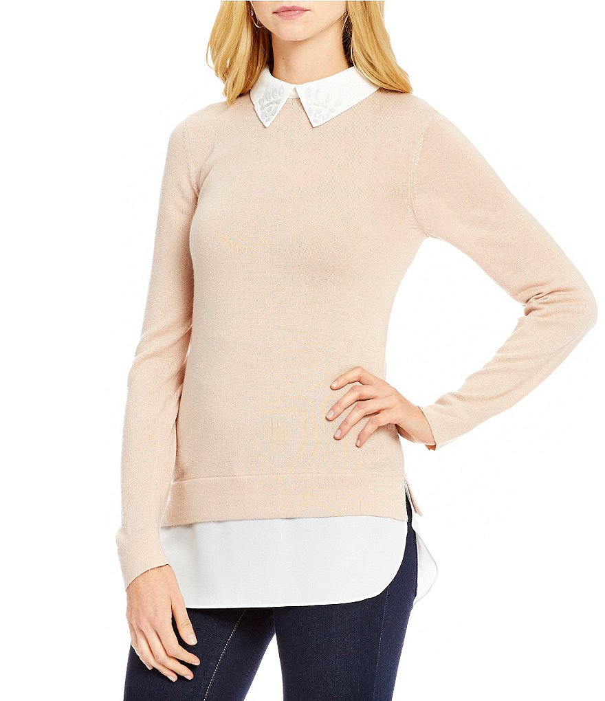 Cremieux Caitie Mix Media Sweater with Beaded Collar