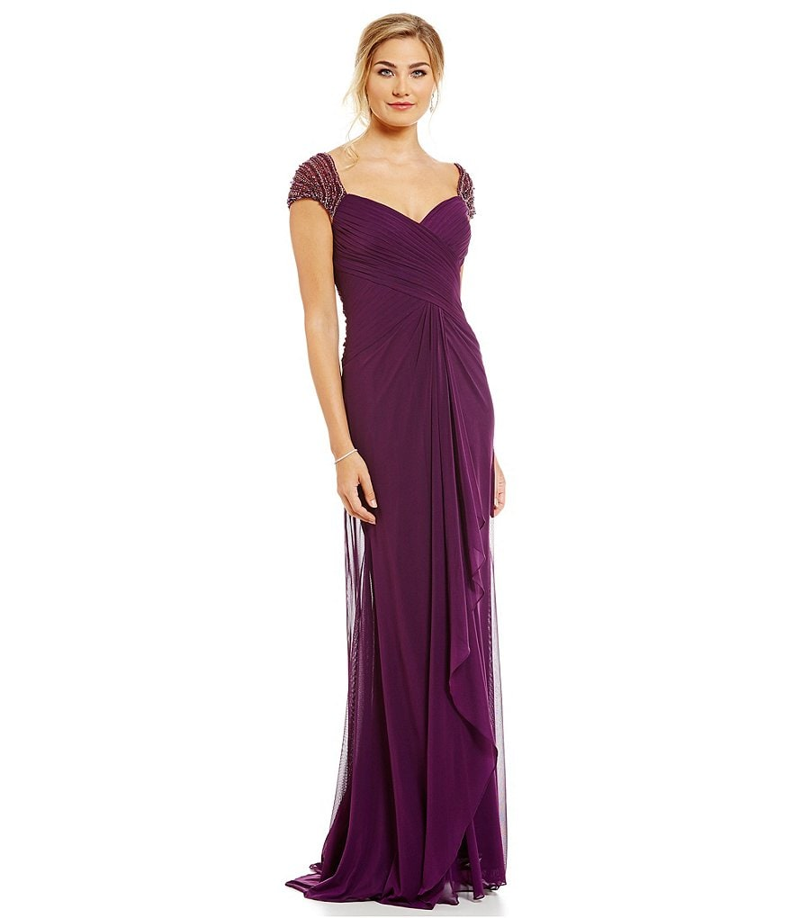 MGNY Madeline Gardner New York Beaded Ruched Cap Sleeve Gown