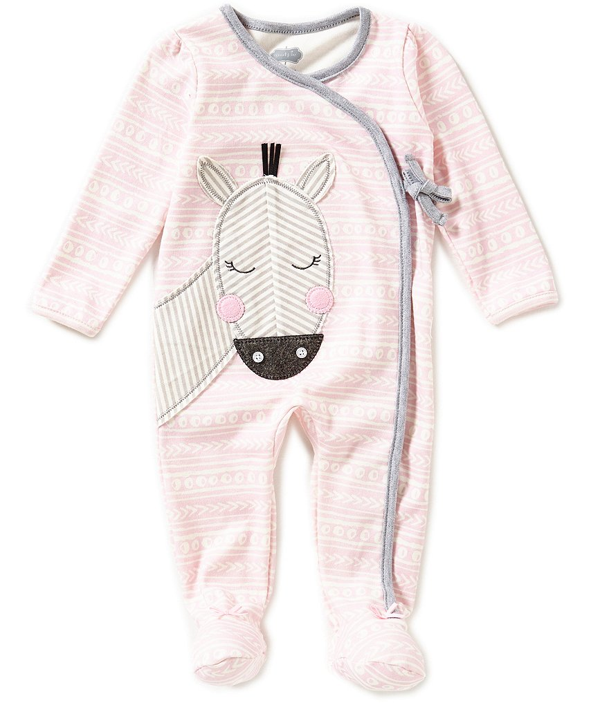 Mud Pie Baby Girls 3-9 Months Zebra-Appliqued Mixed-Print Footed Coveralls