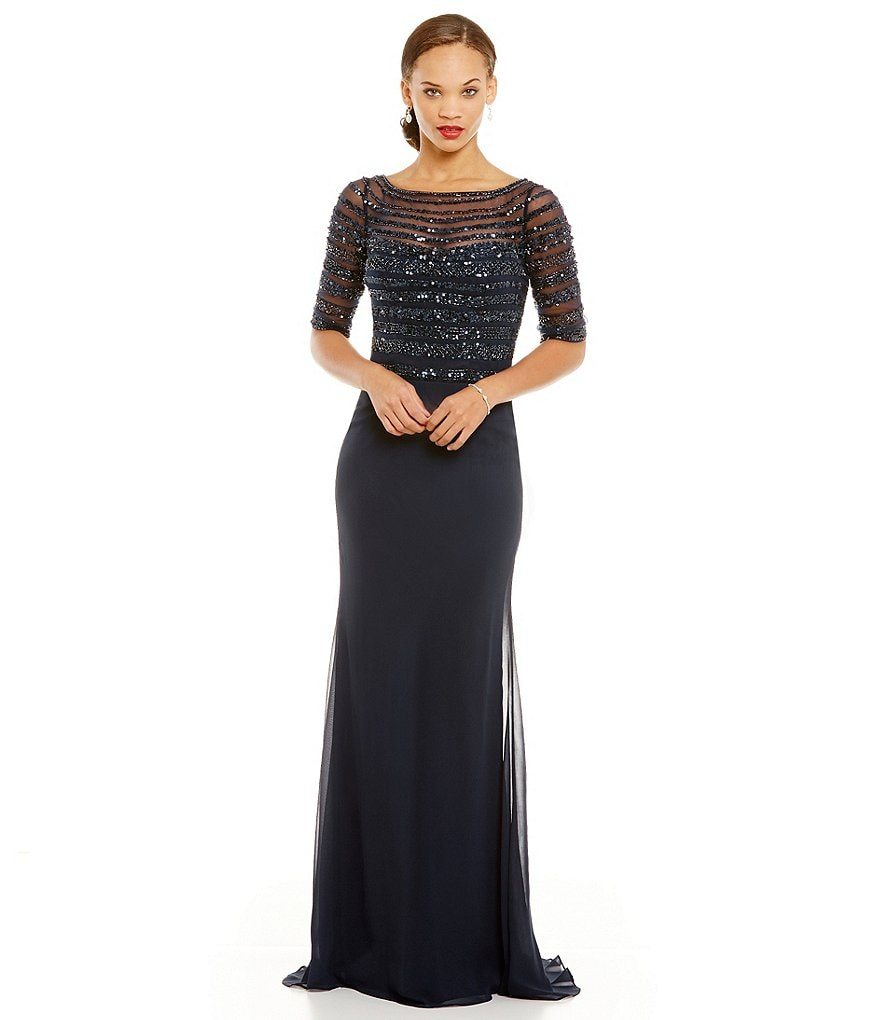 MGNY Madeline Gardner New York Illusion Beaded Bodice Gown