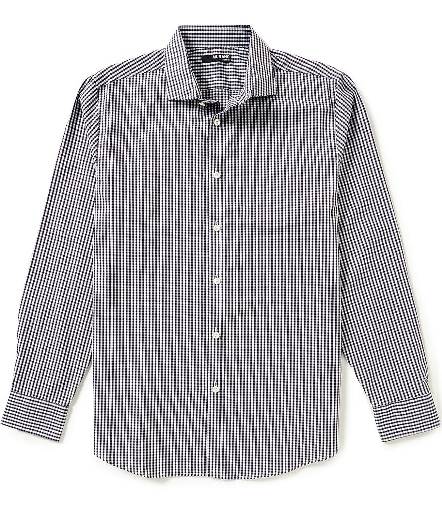 Murano Long-Sleeve Slim-Fit Dobby Checked Spread-Collar Sportshirt