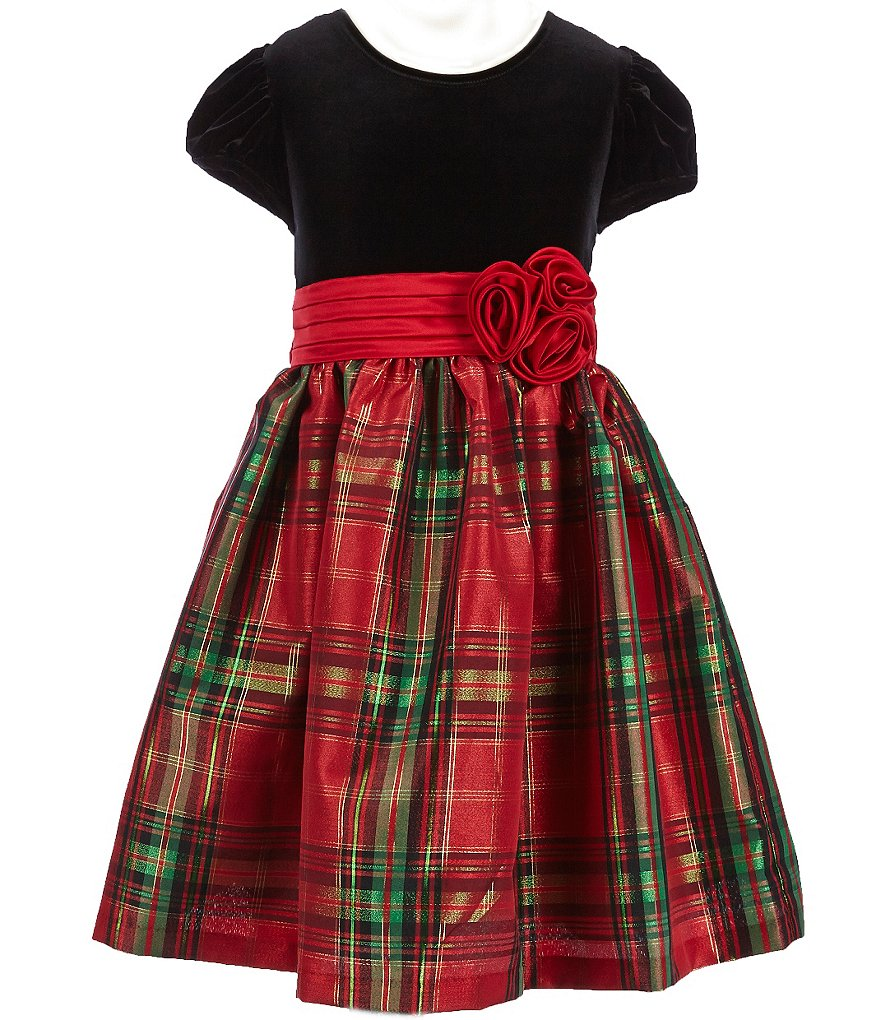 Bonnie Jean Big Girls 7-16 Velvet Plaid Dress