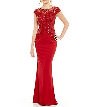 MGNY Madeline Gardner New York Beaded Bodice Gown