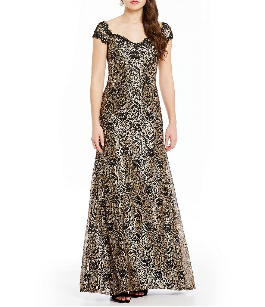 MGNY Madeline Gardner New York Sequin Metallic Lace Gown