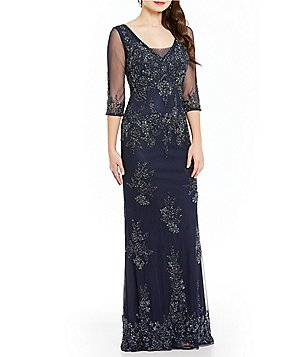 MGNY Madeline Gardner New York 3/4 Sleeve Beaded Gown
