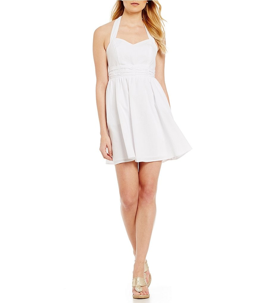 Lauren James Stratton Seersucker Bow-Back Halter Dress