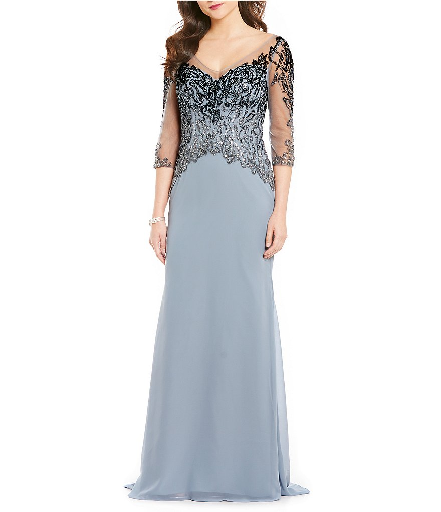 MGNY Madeline Gardner New York V-Neck Sequin Bodice Gown