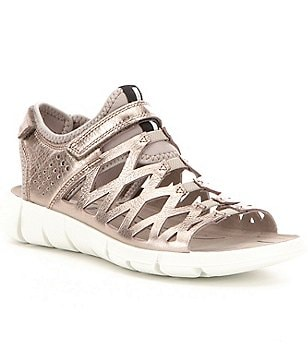 ECCO Women ´s Intrinsic 2 Metallic Leather Criss Cross Pattern Sandals