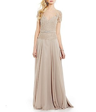 MGNY Madeline Gardner New York Sequin Lace Chiffon A-Line Gown