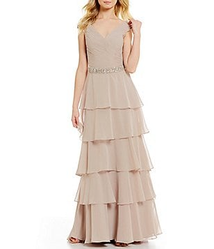 MGNY Madeline Gardner New York V-Neck Cap Sleeves Ruffled Gown