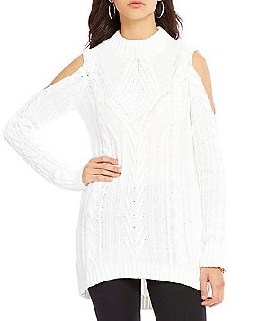 Jessica Simpson Riva Mock Neck Cold Shoulder Cable-Knit Sweater