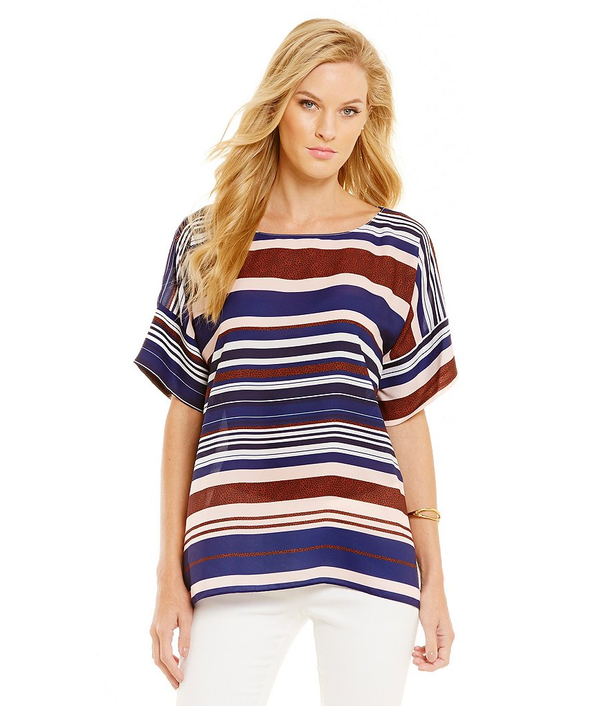 Cremieux Amy Stripe Short Sleeve Blouse