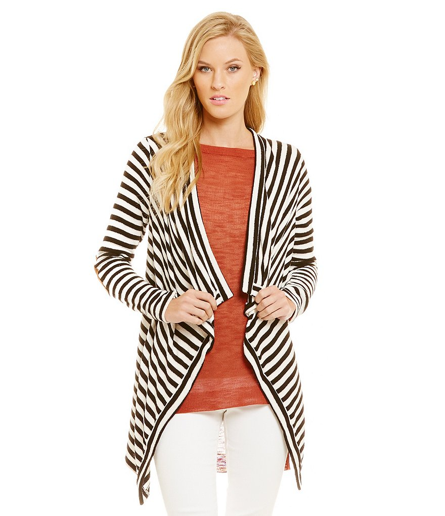 Cremieux Victoria Stripe Draped Neck Open Cardigan