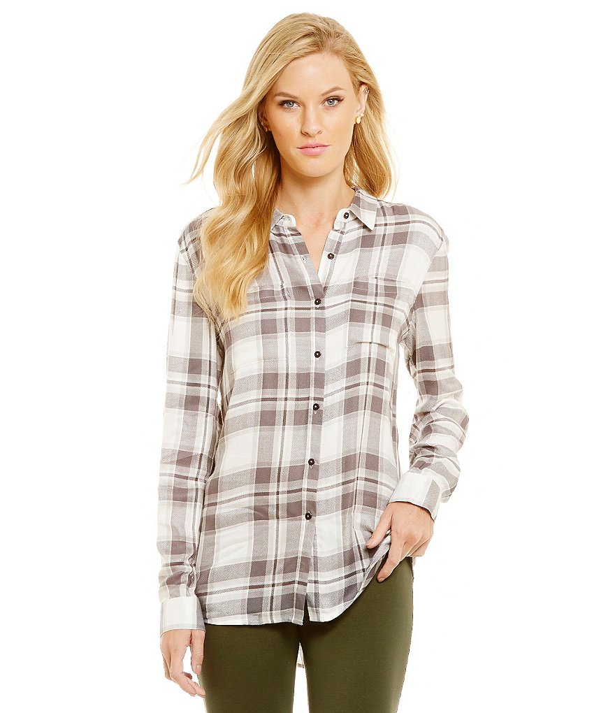 Cremieux Jenn Point Collar Long Sleeve Plaid Shirting Blouse