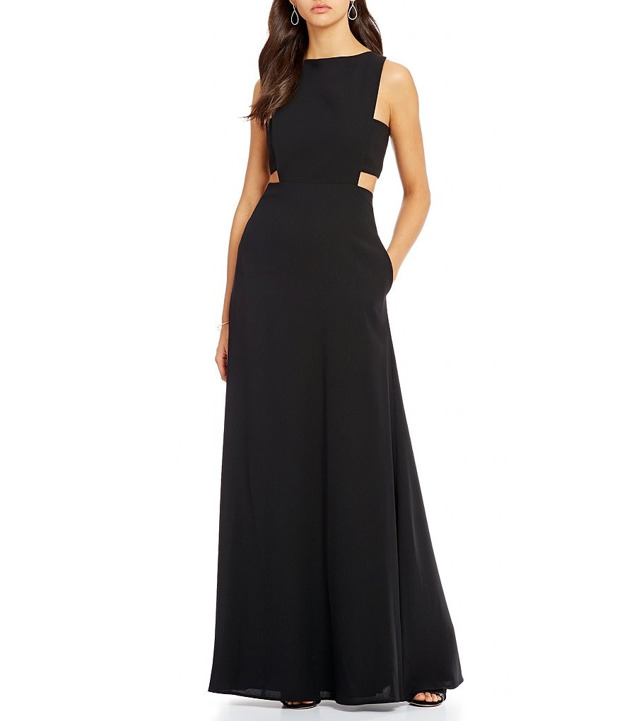 Jill Jill Stuart Crew Neck Sleeveless Cut-Out Crepe Gown