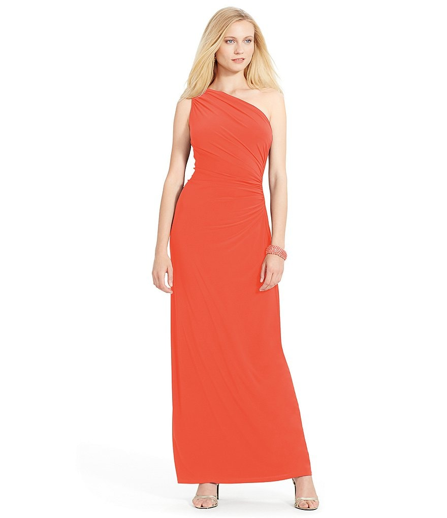 Lauren Ralph Lauren Ruffle One-Shoulder Gown